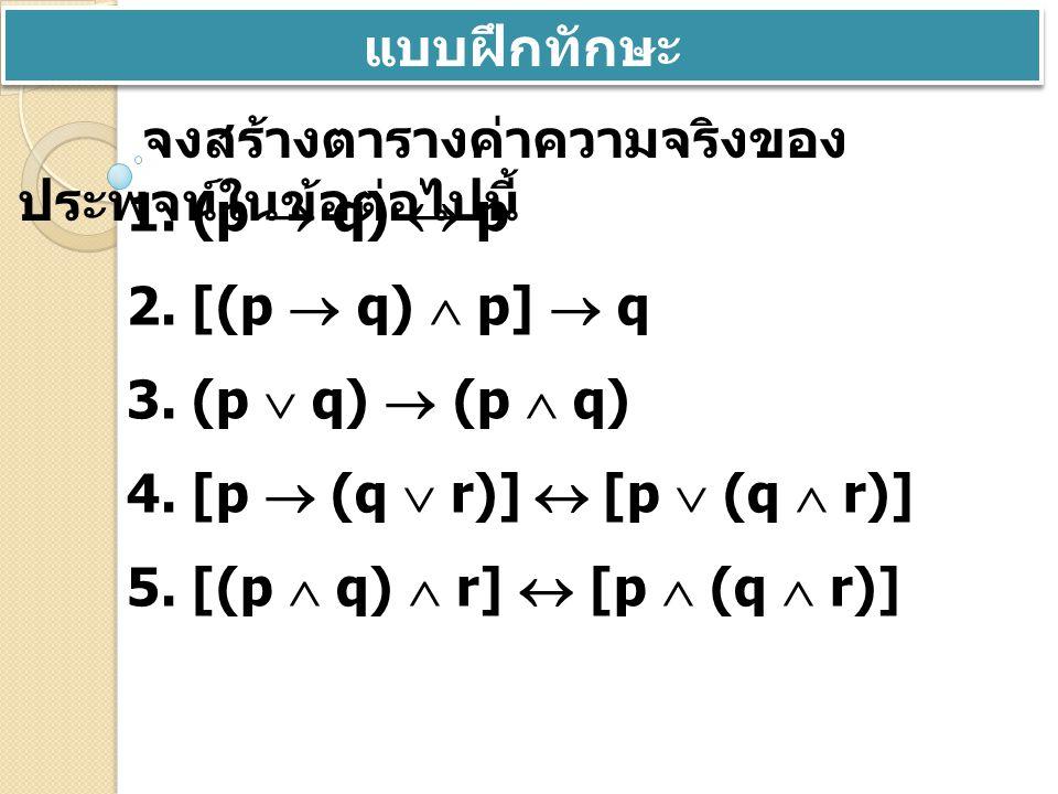 แบบฝึกทักษะ จงสร้างตารางค่าความจริงของประพจน์ในข้อต่อไปนี้ 1. (p  q)  p. 2. [(p  q)  p]  q. 3. (p  q)  (p  q)